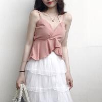 2018新款吊带裙长裙套装女夏网红ins超火裙子两件套连衣裙仙小仙女蛋糕裙 图片色 粉色+白色