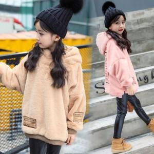 百槿 淑女范童装女童连帽长袖印花宽松毛毛衣外套 中大童冬季连帽宽松毛毛衣外套