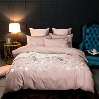 北欧60支贡缎纯棉全棉四件套婚庆大红粉色结婚床单被套床上用品