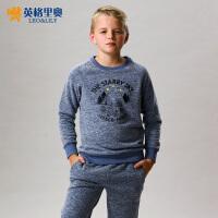 英格里奥春秋中大童男童长袖圆领印花卫衣运动装套装870S