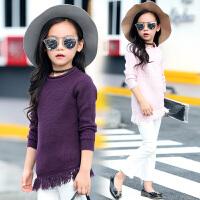 童装女童套头毛衣6-7-9-13岁女孩子儿童针织打底衫秋冬款流苏毛衣