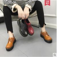 英伦风加绒小皮鞋女秋新款复古圆头学生韩版百搭平底单鞋女鞋