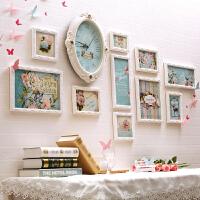 照片墙装饰相框欧式创意带时钟相片墙客厅餐卧宝宝实木画框挂墙