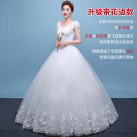 2018083004407272018新款婚纱礼服拍照写真新款新娘结婚简约大码白色拖尾显瘦一字肩齐地婚纱夏