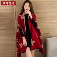 高端羊绒围巾披肩两用女秋冬带袖羊绒韩版多功能新款加厚保暖潮