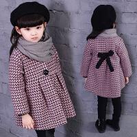 秋季女童毛呢子大衣儿童夹棉加厚格子外套小女孩中长款潮
