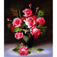 蒙娜丽莎印花十字绣小幅简约现代客厅油画玫瑰花瓶十字绣卧室大幅
