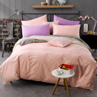 棉纯色四件套纯棉单人1.5m女学生宿舍床单被套双人套件