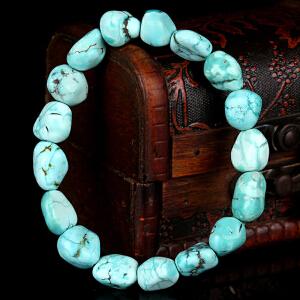 原矿高瓷高蓝绿松石随形手串 直径12mm 重量23.70g