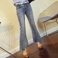 牛仔裤女长裤2018春季新款时尚脚口珍珠装饰开叉喇叭裤高腰弹力裤 浅蓝色