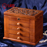 木质首饰盒带锁珠宝盒手饰品箱项链收纳盒中欧式复古大容量