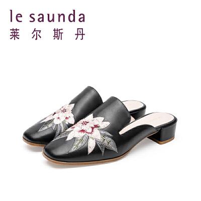 莱尔斯丹 复古国风包头中跟粗跟女鞋刺绣穆勒鞋9M40902 包头中跟粗跟女鞋刺绣穆勒鞋