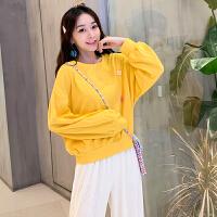 卫衣 女士糖果色圆领长袖卫衣2020年秋季新款韩版时尚宽松显瘦女式清新甜美女装套头衫