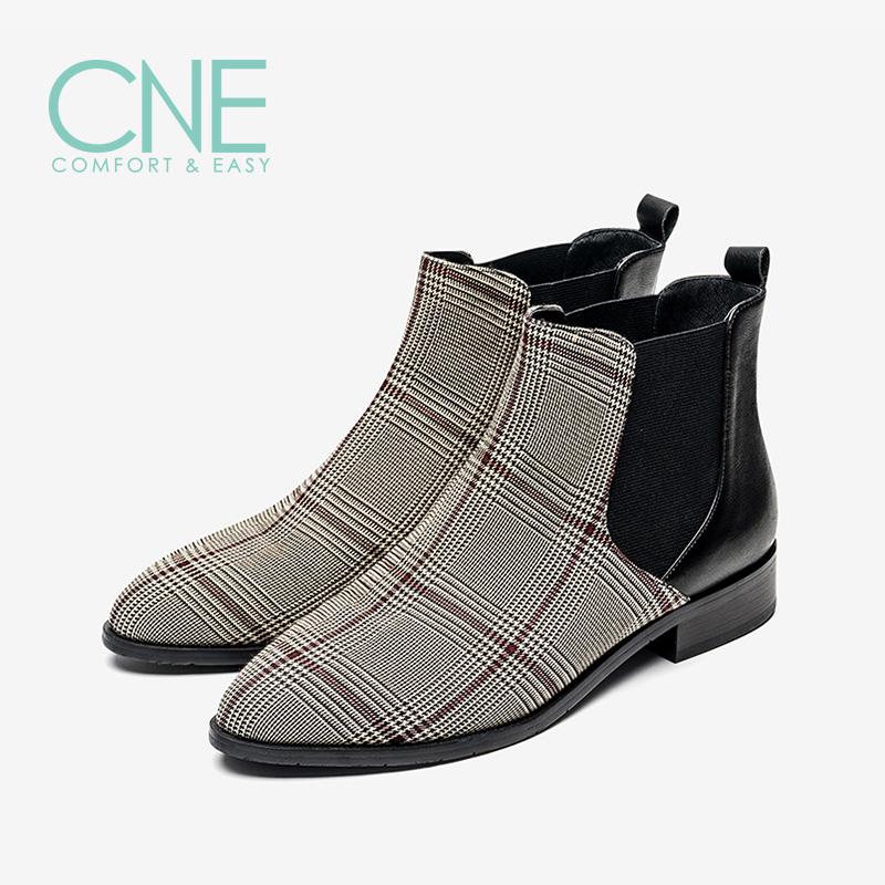 【顺丰包邮,到手价:339】CNE2019秋冬款日系圆头低跟舒适格子切尔西靴女短靴9T22101 低跟舒适格子切尔西靴