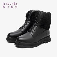 莱尔斯丹 时尚保暖舒适圆头厚底毛圈系带短靴马丁靴女靴LS AT47702V