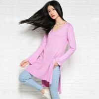 2018春季新款女士圆领中长款纯山羊绒衫休闲长袖宽松大码针织毛衣