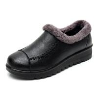 冬季妈妈鞋棉鞋软底女短靴加绒防滑平底跟中老年人女皮鞋奶奶鞋子