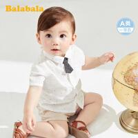 巴拉巴拉宝宝衬衫上衣男童洋气衬衣2020新款洋气波点纯棉白色短袖