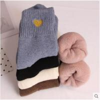 爱心毛巾袜子女冬天加厚保暖中筒袜韩版学院风拉毛松口月子袜