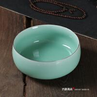 龙泉青瓷陶瓷茶具配件杯洗花盘 汝窑大号笔洗纯手工张健茶洗摆件