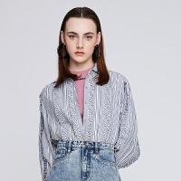 【10.16联合品牌日 预估到手价:748元】dzzit地素 2019春装新款条纹抽褶复古少女气质衬衫女3G1C402