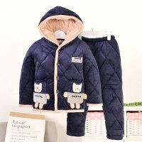 男童睡衣冬季儿童男孩加厚款三层夹棉小孩法兰绒秋冬天中大童套装 深蓝玉 带帽猫/预售10天