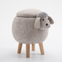 圆凳子创意矮凳实木球形凳子小羊凳子设计师家具家用储物布艺小羊凳 可储物