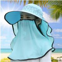 女夏大沿遮脸夏天帽子夏季遮阳帽女折叠沙滩太阳帽防晒帽骑车户外