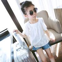 女童T恤儿童半袖白色短袖打底衫童装2018夏装新款中大女孩上衣棉 白色