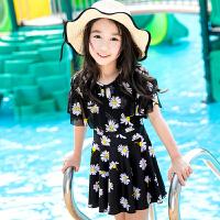 新款儿童泳衣女孩如厕连体中大童裙式可爱女孩女童泳衣儿童游泳衣