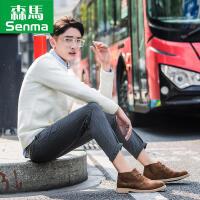 森马男鞋秋季新款高帮鞋子运动休闲滑板鞋韩版短靴潮流百搭马丁靴