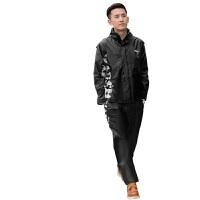 雨衣雨裤套装 时尚摩托车骑行户外男女士徒步分体雨衣 迷彩黑 迷彩黑
