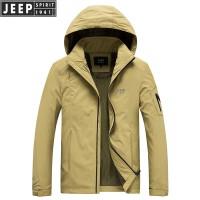 2018秋冬新款吉普JEEP中长款可脱卸帽夹克外套休闲男装 LWS1218