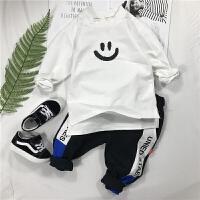 男童春装上衣儿童新款打底衫男宝宝纯棉长袖T恤卫衣卡通套头体恤 白色T恤