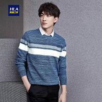 HLA/海澜之家撞色条纹双领针织衫2018冬季新品加绒保暖假两件男