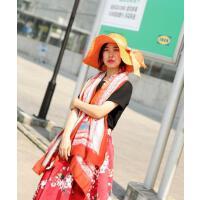 女款 镂空透气帽子女士遮阳帽夏天 大檐沙滩帽可折叠防 晒太阳帽大沿草帽