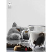 九土马克杯手工双层玻璃杯猫咪杯子办公咖啡杯女用猫杯艺术茶水杯