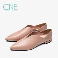 CNE2019秋冬款船鞋纯色尖头深V口平底舒适奶奶鞋女单鞋9T19606