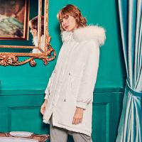 毛菇小象外套女冬季2019新款白色中长款棉袄bf原宿风宽松棉衣