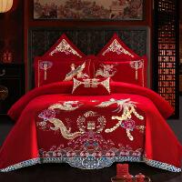 商场同款全棉结婚四件套大红色纯棉绣花床单喜被套新婚婚房床上用品
