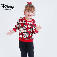 迪士尼童装女童加绒针织卫衣套装2件套保暖上衣裤子2018秋冬新款