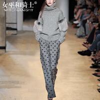 女巫2017秋冬新款欧洲站针织阔腿裤洋气名媛套装女时尚气质两件套
