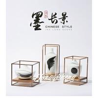 新中式铁艺客厅摆件隔断电视柜玄关禅意摆设现代创意软装饰品