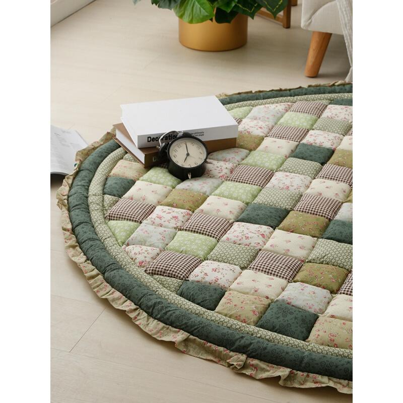 圆形加厚地垫全棉防滑宝宝室内爬行垫家用卧室床前垫子地毯可机洗