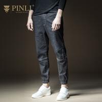 PINLI品立2020秋季新款男装牛仔裤修身小脚裤子休闲裤B203316120