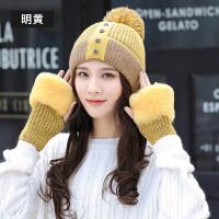 帽子女秋冬季时尚韩版百搭甜美可爱针织冬天保暖学生毛线帽手套两件套