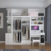 衣柜加书桌简约现代台式电脑桌一体推拉门衣橱学习