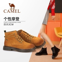 骆驼女鞋冬季新款马丁靴 时尚百搭短靴女英伦风粗跟系带女靴