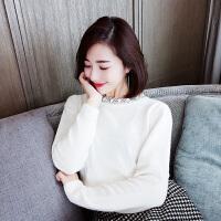 春季新款领口珍珠镶钻打底针织衫女韩版宽松套头毛衣 白色