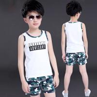 男童背心套�b夏�b2018新款���庵写笸��和�男孩夏季迷彩�杉�套